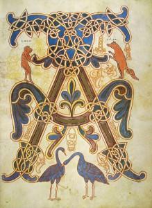 1.Alpha with Ape and Fox. The Beatus of Saint-Sever (France). c. 1072. Paris, Bibliothèque nationale de France, Ms. Lat. 8878, fol. 14r.