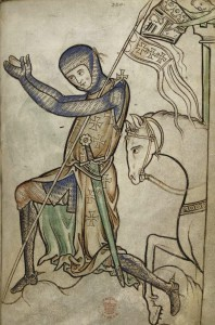 Fig 2 : Kneeling knight, Westminster Psalter, c. 1250, London, British Library (Royal Ms 2a xxii, fol. 220). ©British Library