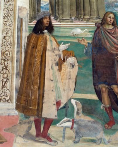 Fig 6. AutoRetrato de Il Sodoma. Fresco de San Benedicto, abadía de Monte Oliveto Maggiore, Siena. 1502.