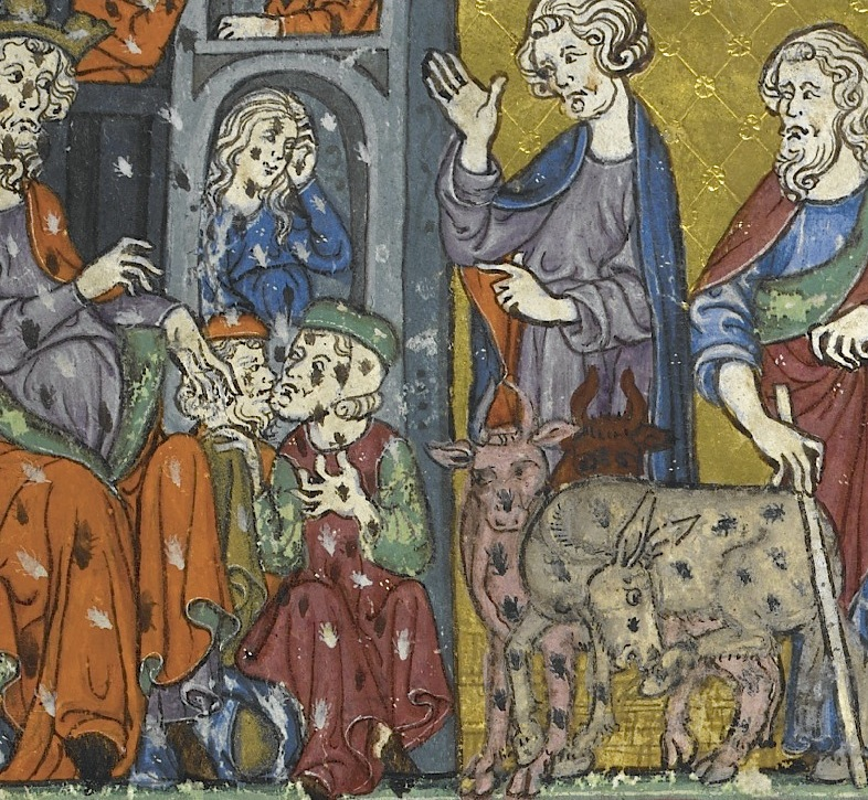 Plague of lice (British Library, Additional 27210 . 12v).