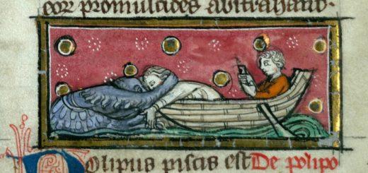 Octopus attacking sailors. Valenciennes, ms. 320, f. 118. Thomas de Cantimpré, Liber de natura rerum, 13th Century