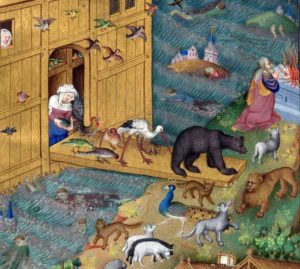 Noah's ar. bedford Hours, British Library, Add MS 18850, f. 16v, c 1410-1430